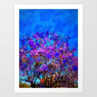 Purple Stained Glass Tre… Art Print