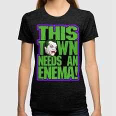 This Town Needs an Enema! Womens Fitted Tee Tri-Black SMALL