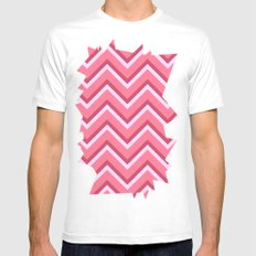 Pink Zig Zag Pattern Mens Fitted Tee White SMALL