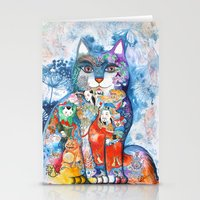 Chinese Cat - Watercolor… Stationery Cards