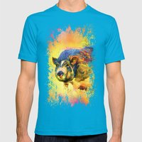 Jazzy Pig Colorful Animal Art by Jai Johnson Mens Fitted Tee Teal SMALL