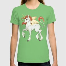 Flying Unicorn Womens Fitted Tee Grass SMALL