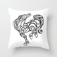 Horse Swirls Throw Pillow