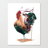 Rooster and Dead Rider Canvas Print