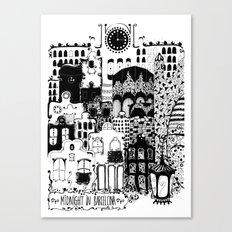 Midnight in Barcelona b&w Canvas Print