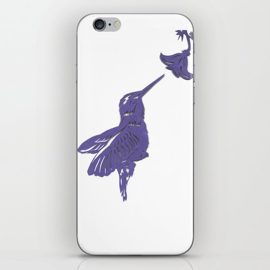 Lavender Hummingbird Papercut iPhone & iPod Skin