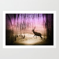 Deer In A Foggy Forest Art Print