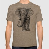 Ornate Elephant Mens Fitted Tee Tri-Coffee SMALL