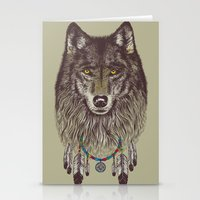 wolf Stationery Cards featuring Wind Catcher Wolf by Rachel Caldwell