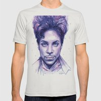 Prince Purple Watercolor Rain Mens Fitted Tee Silver SMALL