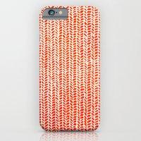 orange iPhone & iPod Cases featuring Stockinette Orange by Elisa Sandoval