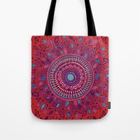 Red And Blue Mandala  Tote Bag