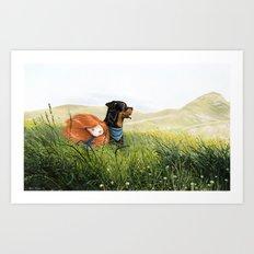 Girl and her dog Art Print
