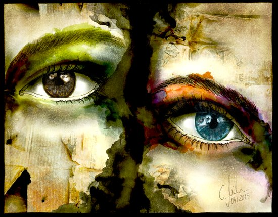 2Eyes2Faces by carographic Art Print