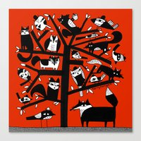ANIMAL TREE RED Canvas Print