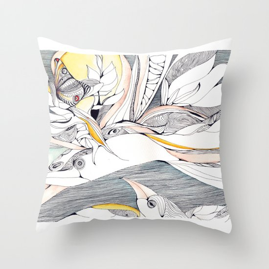 Fly in the crowded sky Throw Pillow