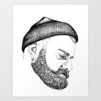 CAP & BEARD Art Print