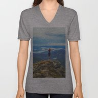 Unisex V-Neck featuring Young Woman  On A Stone … by Marozn