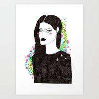 Gothic spring girl Art Print