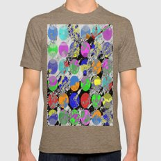 Textured Circles - Abstract, geometric, textured artwork Mens Fitted Tee Tri-Coffee SMALL