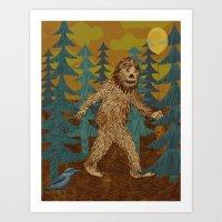 Bigfoot Birthday Card Art Print