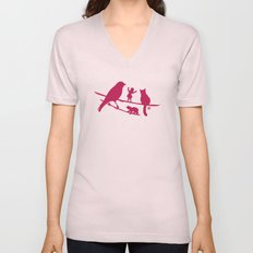 Girl tells a story to her friends Unisex V-Neck