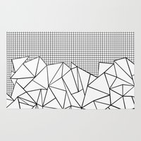 Abstract Outline Grid Black on White Rug