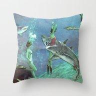 Throw Pillow featuring Sharks by Ben Giles