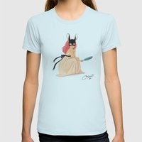 bunny mask Womens Fitted Tee Light Blue SMALL