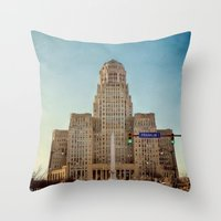 Down Town City Hall Buffalo NY  Color Throw Pillow