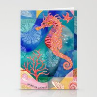 Seahorse collage Stationery Cards