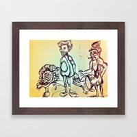 Avocado and Gun Man Brain land Framed Art Print
