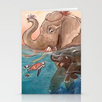 elephants Stationery Cards featuring Elephants by Paloma  Galzi