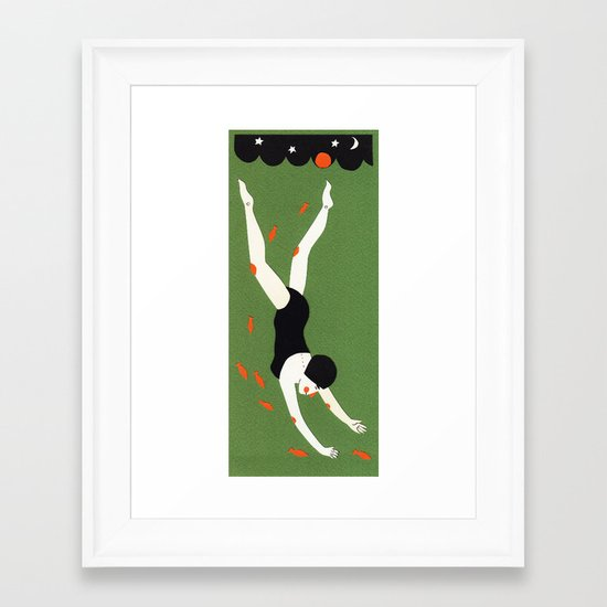 Night swimming Framed Art Print