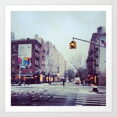 First Snow In The City Art Print