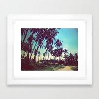 Road Of Palm Trees Framed Art Print