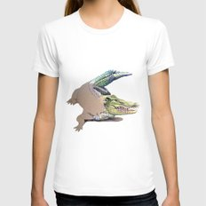 Crocodile Womens Fitted Tee White SMALL