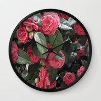 Camellia Blooms Wall Clock
