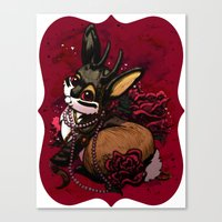 Jackalope, Pearls, And R… Canvas Print