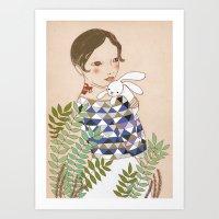 Spring bunny Art Print