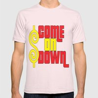Come On Down Mens Fitted Tee Light Pink SMALL