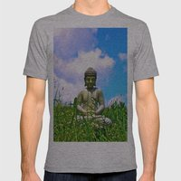 Buddha Takes the Field Mens Fitted Tee Athletic Grey SMALL