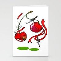 Cherry couplefight Stationery Cards