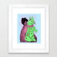 Bunny Pile Framed Art Print
