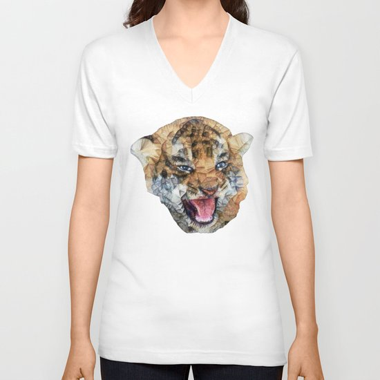 tiger cub V-neck T-shirt