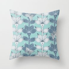 WHITE AND BLUE FLOWERS Throw Pillow