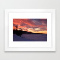 Wintry Sunset over the Porkies Framed Art Print