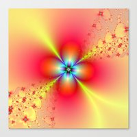 Floral Sprays in Red and Yellow Canvas Print
