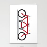 Broken Teamwork Tandem Bicycle Stationery Cards