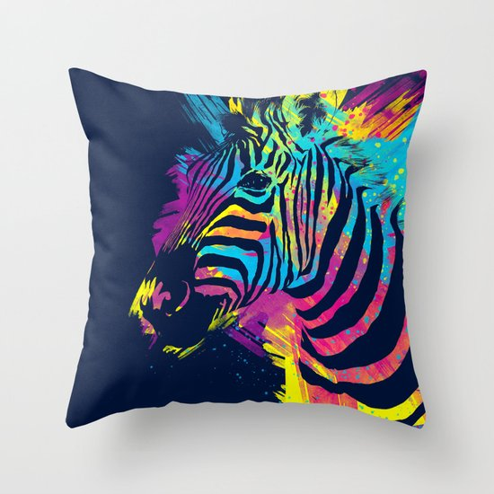 Zebra Splatters Throw Pillow